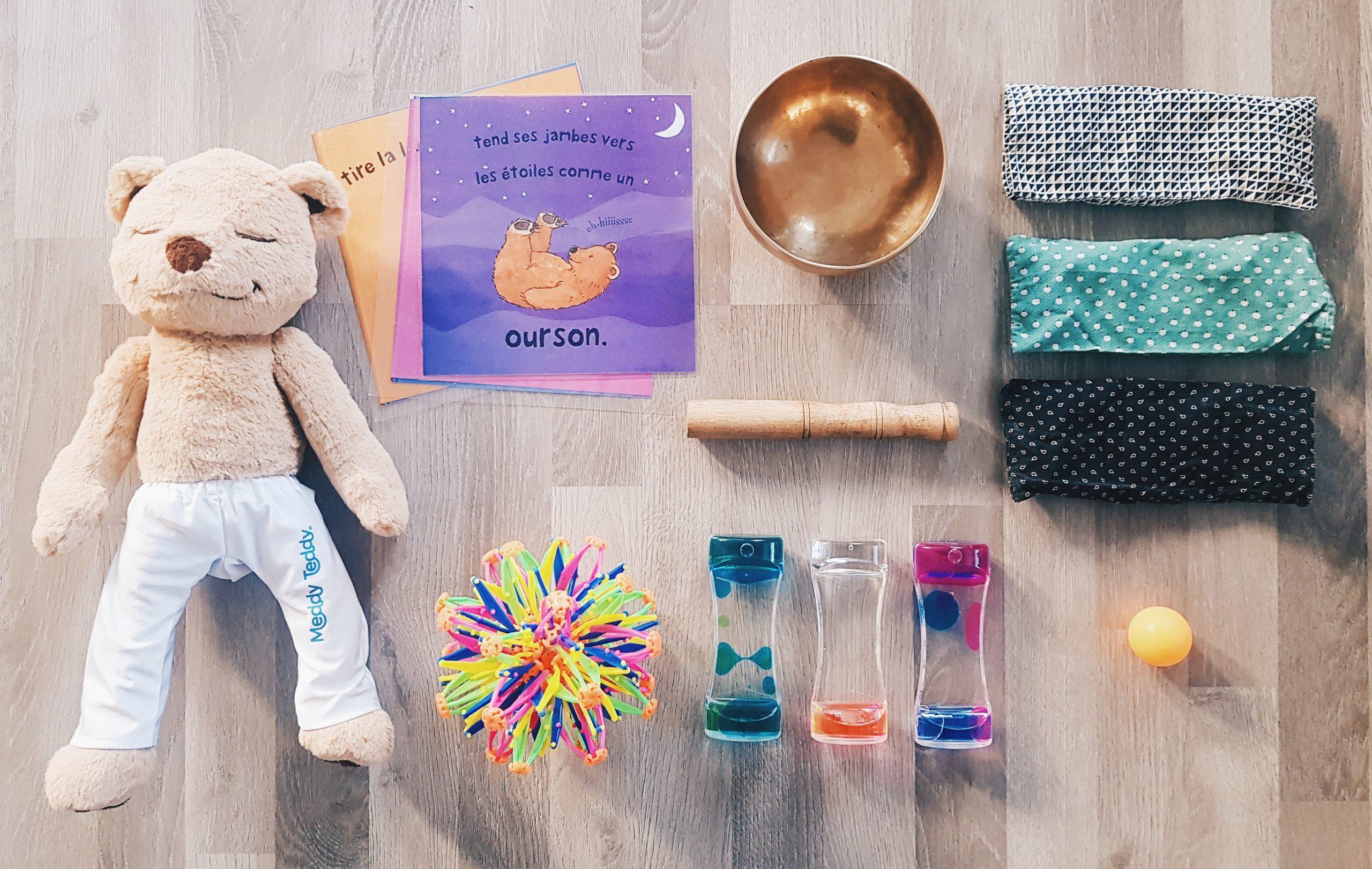 sabliers sensoriels- bol tibétain - Meddy Teddy - Postures pour les enfants